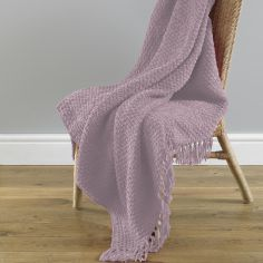 Chenille Tassled Trim Throw - Blush Pink