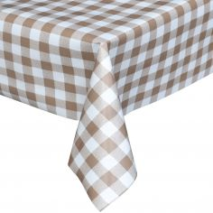 Gingham Check Beige Plastic Tablecloth Wipe Clean Pvc Vinyl