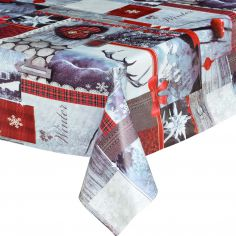 Winter Christmas Multi Plastic Tablecloth Wipe Clean Pvc Vinyl