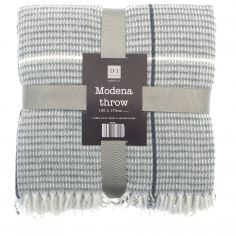 Modena Check Stripe Acrylic Throw - Grey