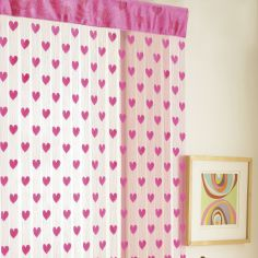 Hearts Net Slot Top Door Curtain - Pink