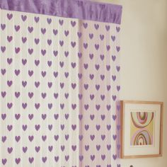 Hearts Net Slot Top Door Curtain - Lilac Purple