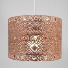 Moroccan Antique Gem Light Shade Chandelier - Copper
