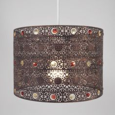 Moroccan Antique Gem Light Shade Chandelier - Bronze