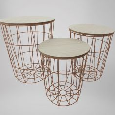 Wooden Rustic Set of 3 Nesting Tables - Copper