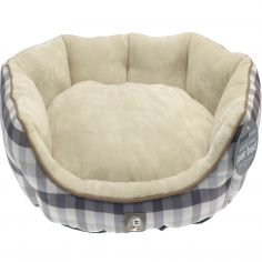 Oxford Check Pet Bed - Grey