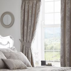 Luxury Howard Jacquard Fully Lined Tape Top Curtains - Silver Grey