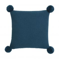 Sula Knitted Filled Cushion - Teal Blue