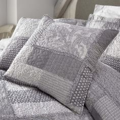 Satira Quilted Patchwork Filled Cushion - White Grey