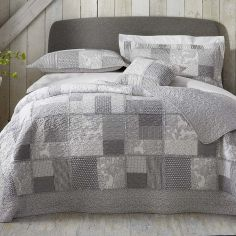 Appletree Better Satira Quilted Patchwork Bedspread - White Grey