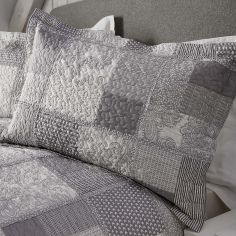 Appletree Better Satira Quilted Patchwork Oxford Pillowsham - White Grey