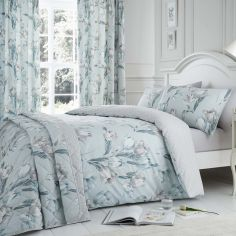 Tulip Floral Duvet Cover Set - Duck Egg Blue