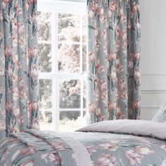 Tulip Floral Fully Lined Tape Top Curtains - Blush Pink