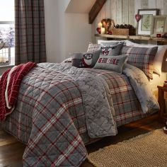 Ludlow Check Reversible Stag Duvet Cover Set - Silver Grey