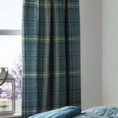 Ludlow Check Fully Lined Tape Top Curtains - Teal Blue