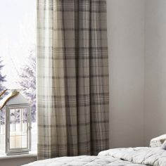 Ludlow Check Fully Lined Tape Top Curtains - Natural