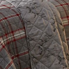 Ludlow Check Quilted Reversible Bedspread - Silver Grey
