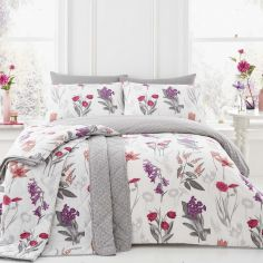 Ingrid Floral Reversible Duvet Cover Set - Blush Pink