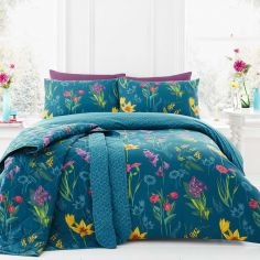 Ingrid Floral Reversible Duvet Cover Set - Teal Blue