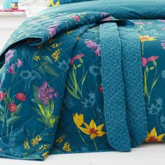 Ingrid Floral Quilted Reversible Bedspread - Teal Blue
