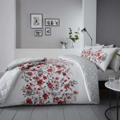 Gabriella Floral Reversible Duvet Cover Set - Red