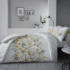 Gabriella Floral Reversible Duvet Cover Set - Ochre Yellow