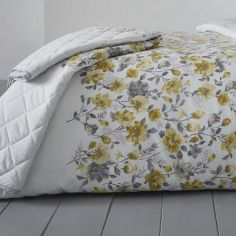 Gabriella Floral Reversible Quilted Bedspread - Ochre Yellow
