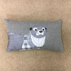 Herringbone Otter Boudoir Cushion Cover - Silver Grey