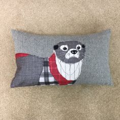 Herringbone Otter Boudoir Cushion Cover - Red
