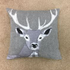 Herringbone Stag Cushion Cover - Silver