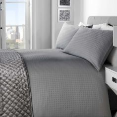 Trieste 100% Cotton Duvet Cover Set - Silver Grey