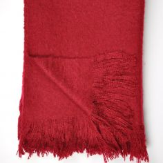 Alexa Fringed Tassle Throw - Red