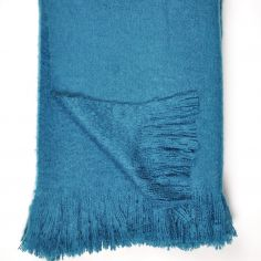 Alexa Fringed Tassle Throw - Teal Blue