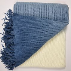 Roxford Ombre Tassle Throw - Navy Blue