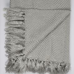 Wilton Tassle Fringe Throw - Silver Grey