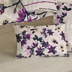Sakura Floral Unfilled Boudoir Cushion - Mauve Purple