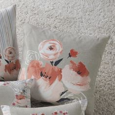 Penelope Floral Striped Filled Cushion - Coral Pink