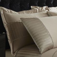 Diamante Pleats Pair of Pillowshams - Gold