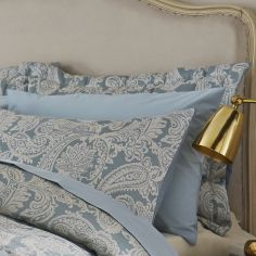 Catherine Lansfield Luxury Opulent Jacquard Pillowshams - Duck Egg Blue