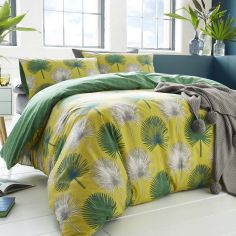 Appletree Catori Palm Tree 100% Cotton Duvet Cover Set - Yellow Green