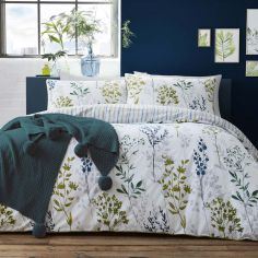 Appletree Meadow Grass 100% Cotton Reversible Duvet Cover Set - Green
