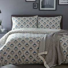 Axis Geometric 100% Cotton Reversible Duvet Cover Set - Blue