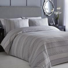 Appletree Moriko Stripe Jacquard Duvet Cover Set - Grey