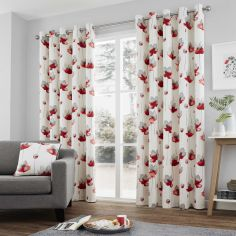 Kiera Floral Fully Lined Eyelet Curtains - Red