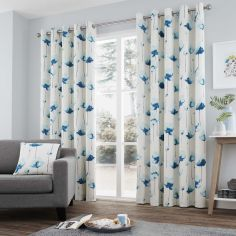 Kiera Floral Fully Lined Eyelet Curtains - Teal Blue