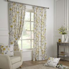 Odelia Floral Fully Lined Tape Top Curtains - Ochre Yellow