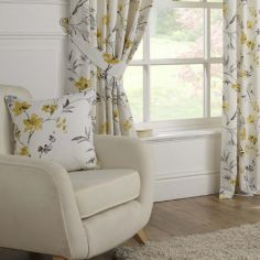 Odelia Floral Cushion Cover - Ochre Yellow