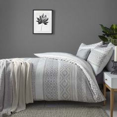 Kintyre Stripe Reversible Duvet Cover Set - Silver Grey