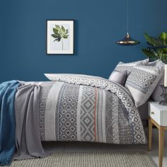 Kintyre Stripe Reversible Duvet Cover Set - Charcoal