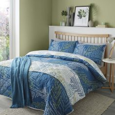 Alena Leaf Print Reversible Duvet Cover Set - Teal Blue